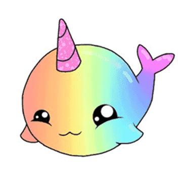 ballena arcoiris kawaii