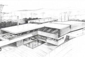 Plano a lápiz de arquitectura
