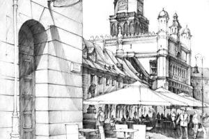 Terraza en perspectiva arquitectura