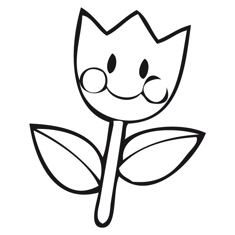 flor kawaii para colorear