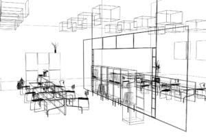 Moderna Oficina boceto interior arquitectonico