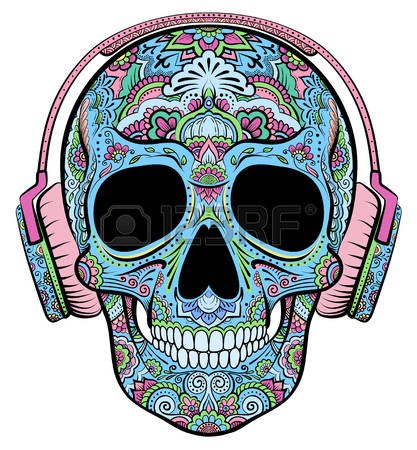 music calavera coloreada