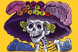Calavera coloreada con sombrero