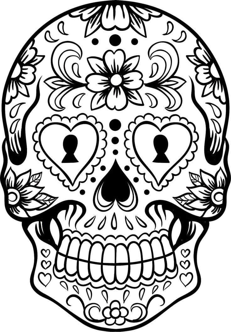 Calavera para colorear en dibujos faciles
