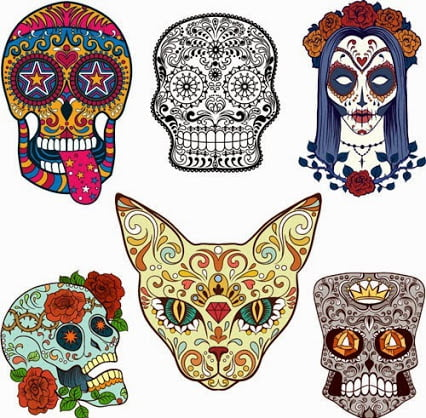 Calavera coloreada facil