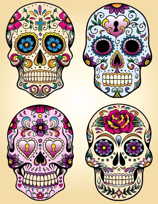 Calavera coloreada facilmente