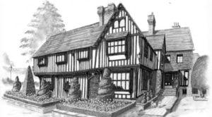 Boceto a lapiz de casa arquitectonica