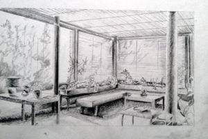 boceto interior a lapiz arquitectura