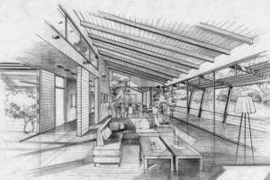 Arquitectura Diseño interior a lápiz