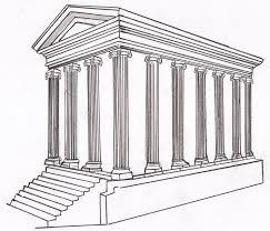 Dibujo arquitectura romana templo