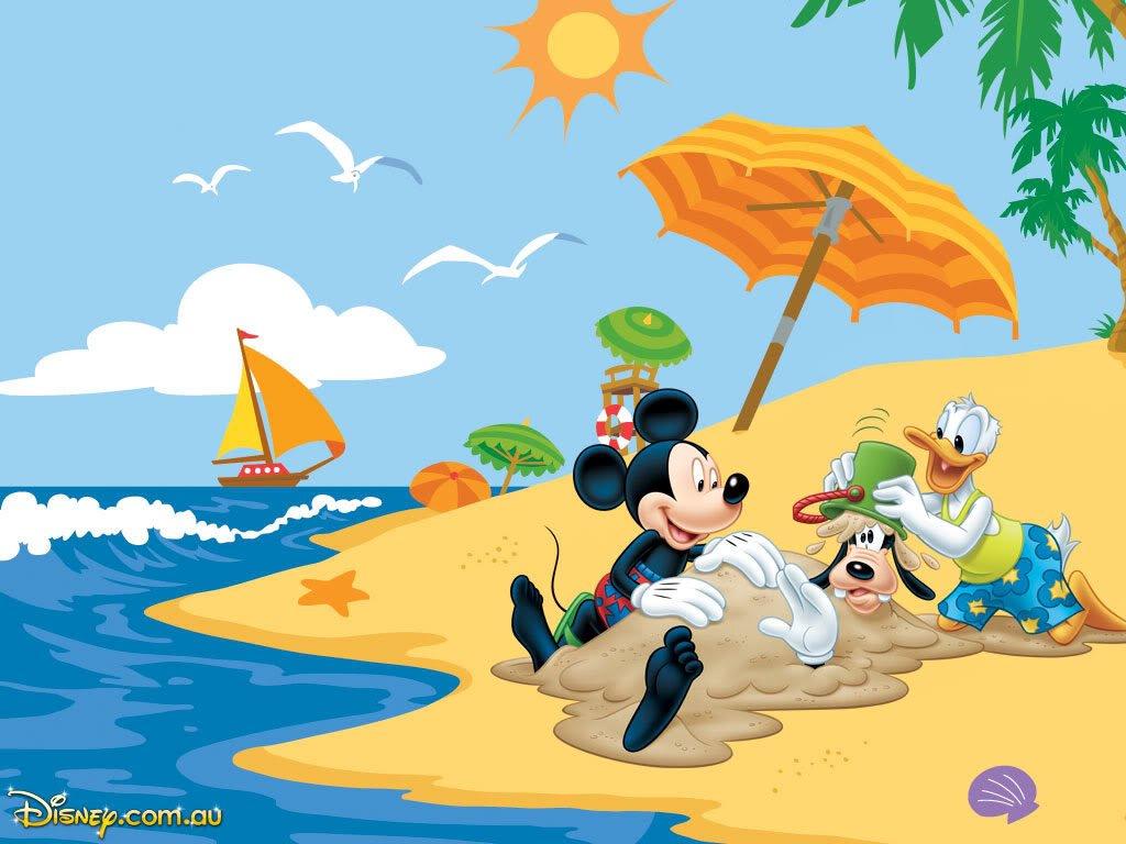 dibujos faciles disney playa