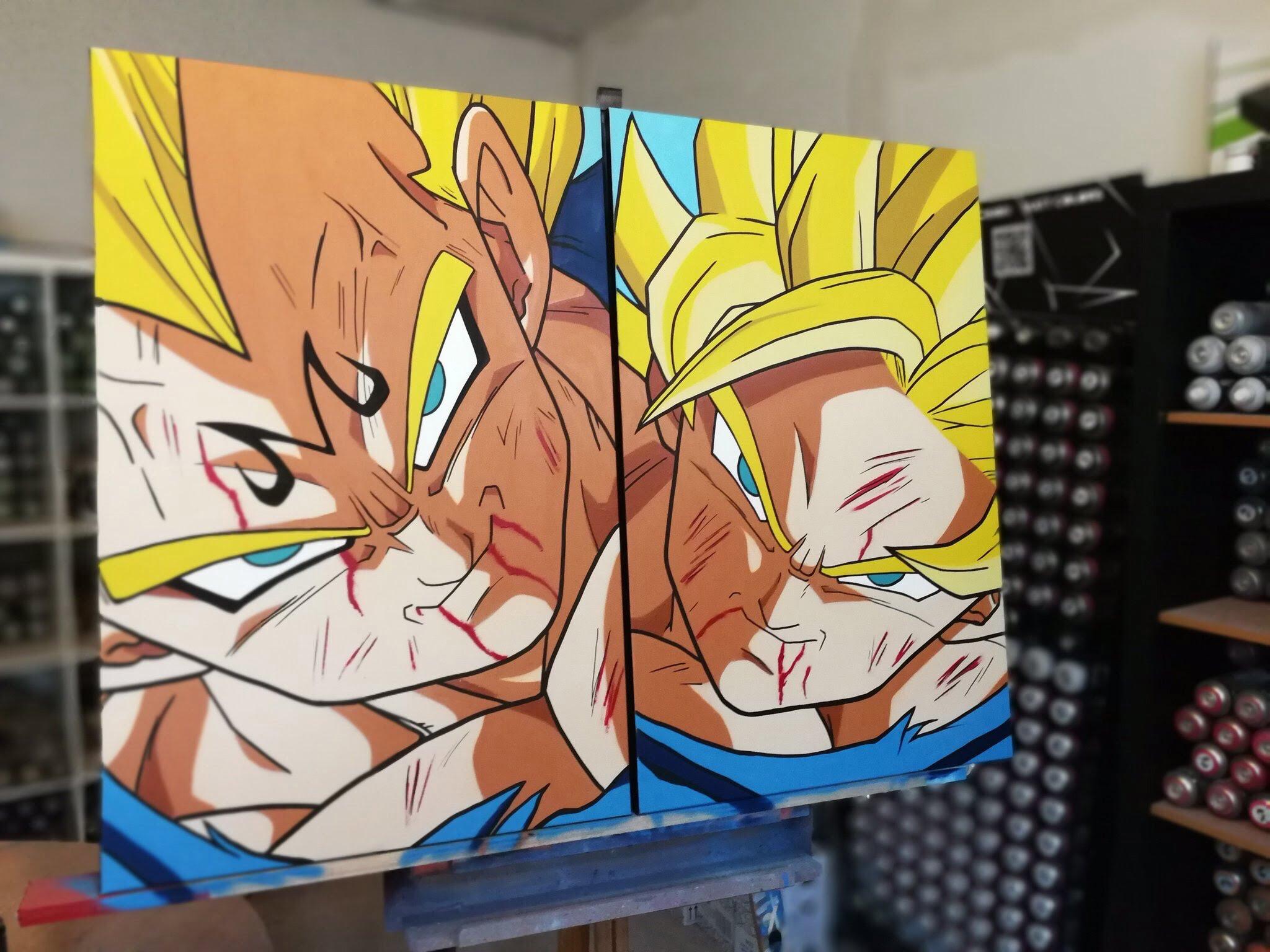 Goku y Vegetta graffiti